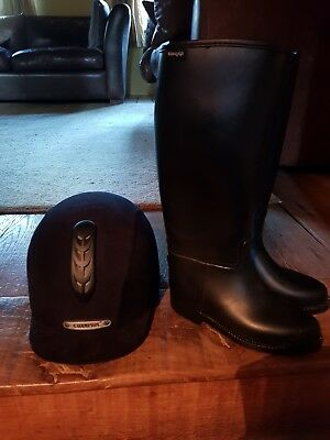 champion junior riding hat size 53cm (6.5) and toggi riding boots size 13 (32).