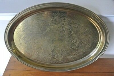 "Antique POOLE SILVER Co footed etched tray 21 3/4""  x 16' 1 3/4 high"