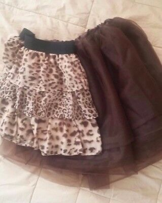 Girls Holiday Special Occasion Skirts Brown Tutu Leopard print Size 10-12-14