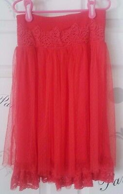 Girls Dressy Holiday Special Occasion Red Lace Skirt  Size 10-12