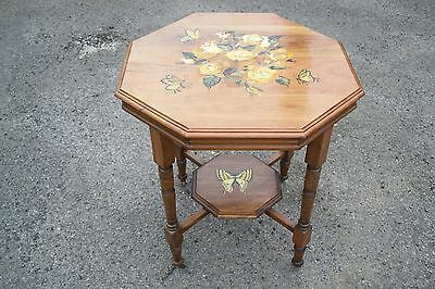 Antique Hexagonal Table Hand Painted With Butterflies And Flowers