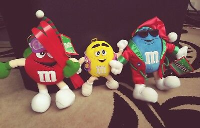 Lot of 3 M&M Plush Stuffed Christmas Toys Animals Red Blue Yellow Hanging VClean