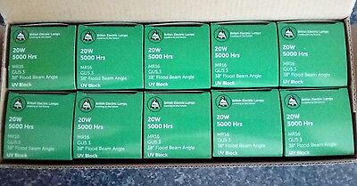 Halogen Bulbs Lamps - 20 X Mr16 20W Flood Beam Clear - Look Must Have