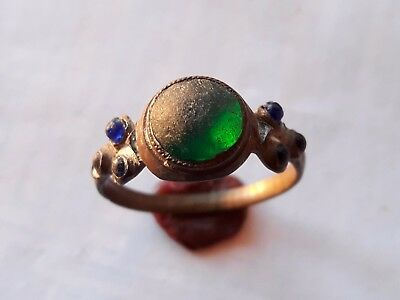 Amazing Medieval Bronze Ring With Green Glass