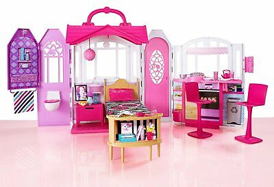 Barbie Doll Dollhouse Glam Mansion Dream House Furniture Girls Portable Play Set