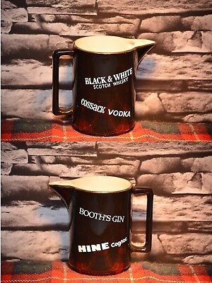 Black & White Scotch Cossack Vodka Booth´s Gin Hine Water Jug Wasser Krug #c0218