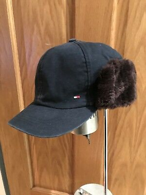90s Tommy Hilfiger Winter Baseball Cap Trapper Hat Fur Ear Flaps RARE SAMPLE