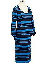 Maternity Dress Plus Size XXL Old Navy Ruched Belly 3/4 Sleeve Stripe 1X NWT New