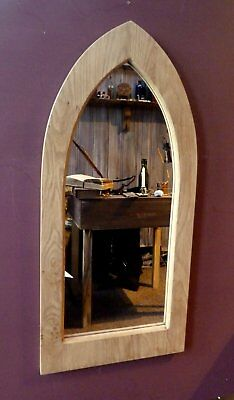 Unusual Gothic Arch Solid Wooden English Oak Mirror 89 cm long Hand Made