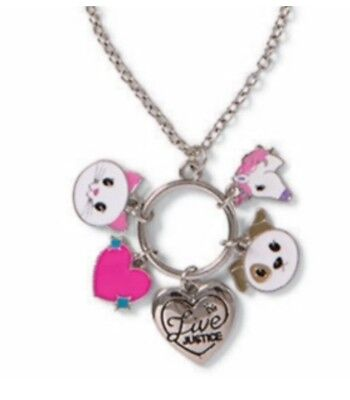 NWT Justice necklace Girl's EMOJI Charm w/ dog, cat, horse, heart & live justice