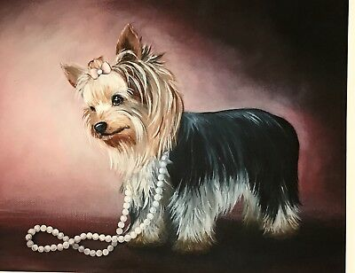 Yorkshire terrier Yorkie PRINT from Painting art Dog 8x10
