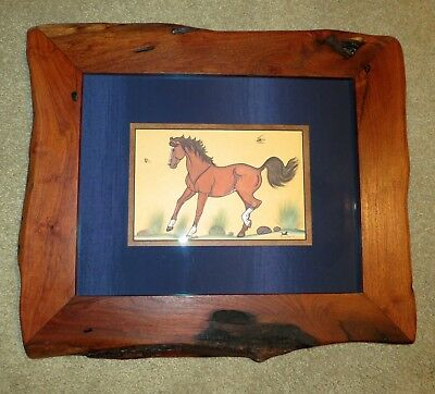 Original Horse Painting By Navajo, Quincy Tahoma Custom Made Mesquite Wood Frame