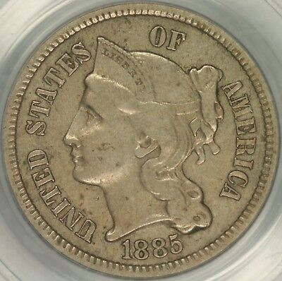 1885 Three Cent Nickel PCGS XF45 CAC
