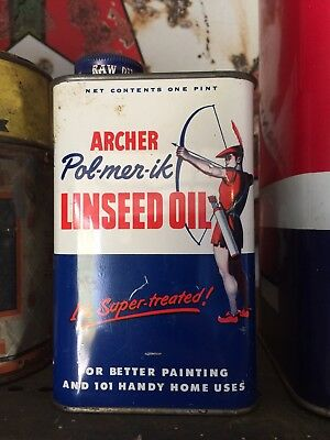 Vintage 1960's Archer Linseed Metal Oil Can Full Can.Pol-mer-ik EXCELLENT! Oil