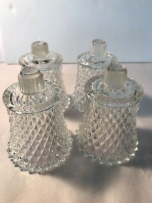 4 Home Interior HOMCO Clear Diamond Cut Glass Votive Cup Candle Holders w/Rubber