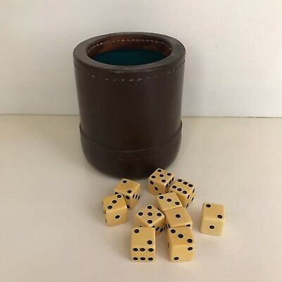 Vintage Old Thick Leather Stitched Dice Game Shaker Cup With Dice Clean