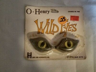 Pair of Vintage Retro Hippie O-Henry Ceramic Macrame Green Wild Eyes Cat Beads