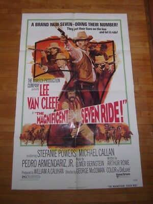 1972 Original One Sheet Movie Poster The Magnificent Seven Ride