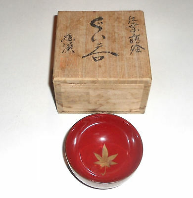JAPANESE Wood Sake Tea Cup Guinomi - Red Lacquer Ware with Gold Gilt & Yaki Box