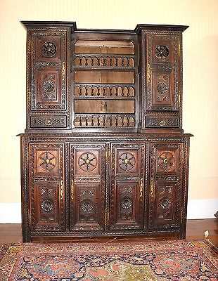 Beautiful French Antique Brittany Carved Oak Buffet / Sideboard