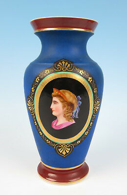Antique Paris Porcelain Portrait Medallion Vase French Empire Old French Gold