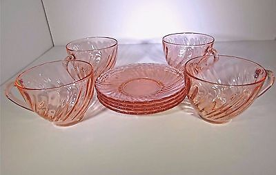 Vintage Lot of 4 Tea Cups and 4 Saucers Pink Swirl Glass Rosaline Arcoroc France