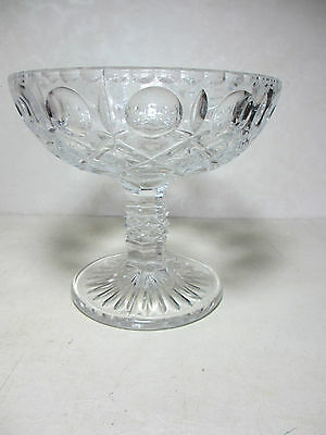 Vintage Lead Crystal Compote Pressed & Cut Glass A+ Condition Unknown Pattern