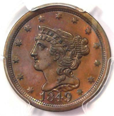 1849 Braided Hair Half Cent 1/2C - PCGS Genuine - AU Details - Rare Date!