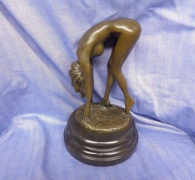 Beautiful Vintage Bronze Art Deco Nude Lady Bent Over signed by Cesard