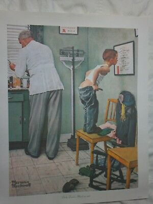 "1972 Norman Rockwell 11X14 Print On Canvas ""at The Doctors"" Mint Condition"