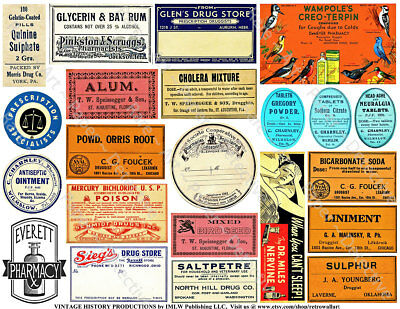 Pharmacy & Druggist Poison Labels, 2 Sticker Sheets, Antique Apothecary Medicine