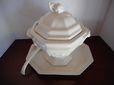 Vintage White Ironstone Grape Pattern Soup Tureen with Under Plate and Ladle