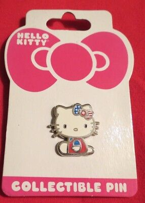 New Hello Kitty with Red, White & Blue Flag Bow Pin