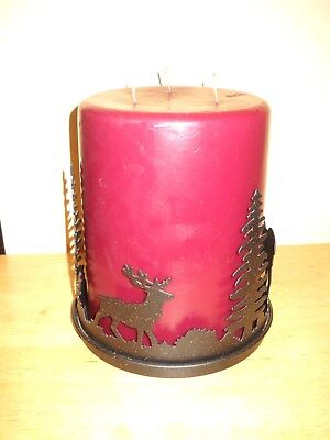 Xmas Partylite Forest Friends Rustic Metal 3 Wick Candle Holder & 3 Wick Candle