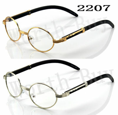 New Mens Womens Clear Lens Oval Frame Eye Glasses Vintage Fashion Retro Wood