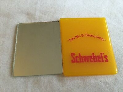 Vintage SCHWEBEL'S BREAD Pocket Advertising Mirror Look Who Is Thinking Safety