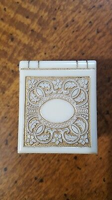 Vintage RING BOX  Bakelite Fancy Ivory Cream Off White Deco Inlaid, Look