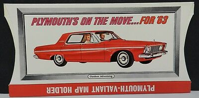 Nos 1963 Mopar Plymouth 2Dr Fury 4Dr Valiant Promo Map Holder Bill Board Sign 63