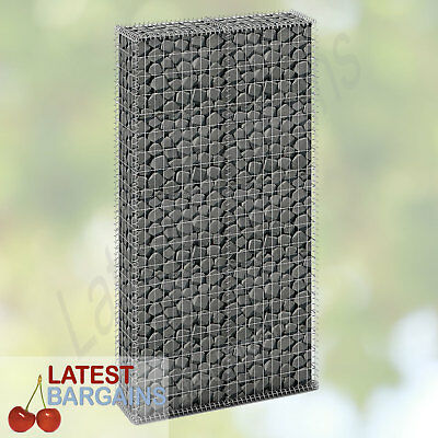 Gabion Basket Wall Cage with Lids Galvanized Wire 200 x 85cm Garden Landscaping