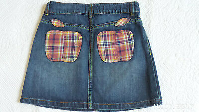Girls Mini Boden 11/12 Denim Skirt - with apples patches