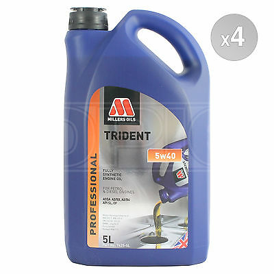 Millers Oils TRIDENT 5W-40 Fully Synthetic Engine Oil 4 x 5 Litres 20L