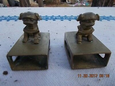 Pair of Chinese Brass Foo Dogs Matchbox Holders