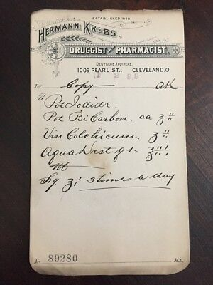 Antique 1800s Herman Krebs Drug Store Pharmacy Prescription Apothecary Cleveland