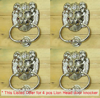 Lot of 4 pcs 6.22 Solid Brass Lion King Head front Door KNOCKER CHROME Finishing