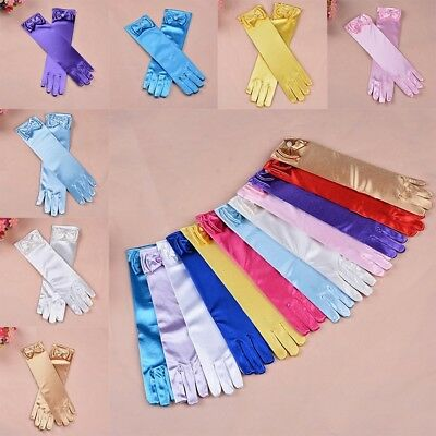 11Color Long Satin Gloves Kids Girls Satin Bow Sleeves Party Wedding Performance