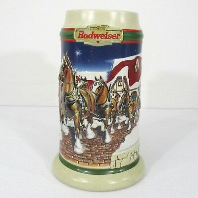1997 Budweiser Holiday Christmas Beer Stein with Box - Grant's Farm Holiday