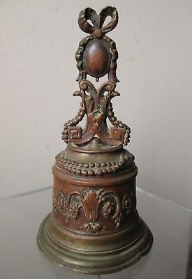 ANTIQUE old 18th Century FRENCH or Italian BRONZE Hand BELL France late 1700's