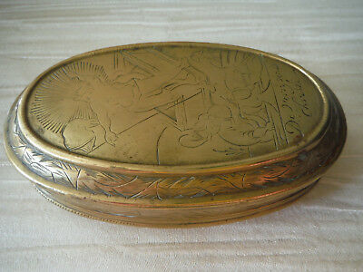 Antique Etched Brass Dutch Oval Hinged Box- Estate Sale
