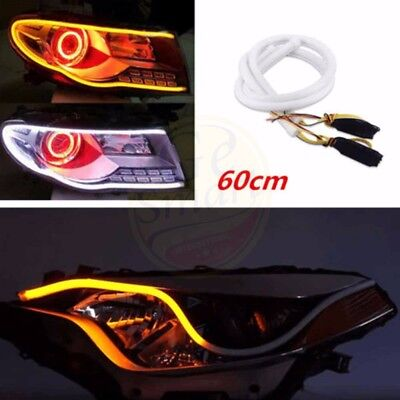 Car Truck Vehicle DRL LED Light Strip Tubes Amber Sequential Turn Signal 60cm