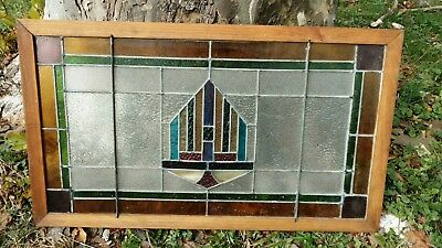 """Leaded Stained Glass Old Sash Window Arts & Crafts Framed 37 ½"""" x 21 ½"""" Salvaged"""